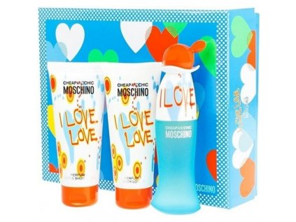 Moschino I Love Love - toaletní voda 50 ml + sprchový gel 100 ml + tělové mléko 100 ml