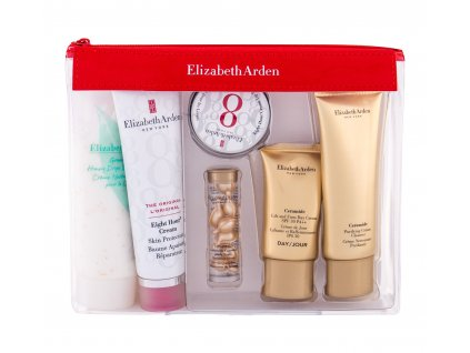 Elizabeth Arden Eight Hour Cream Skin Protectant - tělový balzám 50 ml + pleťové sérum 3,2 ml + balzám na rty 13 ml + denní krém 15 ml + čistící krém 50 ml + tělový krém 100 ml + kosm. taška