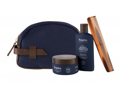 Farouk Systems Esquire Grooming The 3-In-1 - sprchový gel 3in1 89 ml + vosk na vlasy The Wax 85 g + hřeben Classic Travel Dual Comb 1 ks + kosmetická taštička