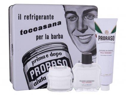 Proraso White After Shave Balm - balzám po holení 100 ml + mýdlo na holení 150 ml + krém před holením 100 ml + plechová dóza