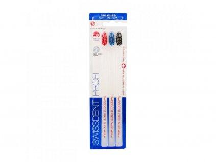 Swissdent Profi Colours Trio (Red, Blue, Black) zubní kartáček