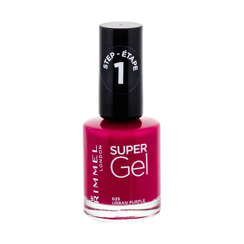 Rimmel London Super Gel STEP1 - (025 Urban Purple) lak na nehty W Objem: 12 ml