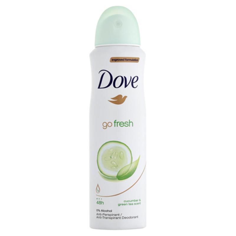 Dove Antiperspirant ve spreji Go Fresh s vůní okurky a zeleného čaje - (Cucumber & Green Tea Scent) W Objem: 250 ml