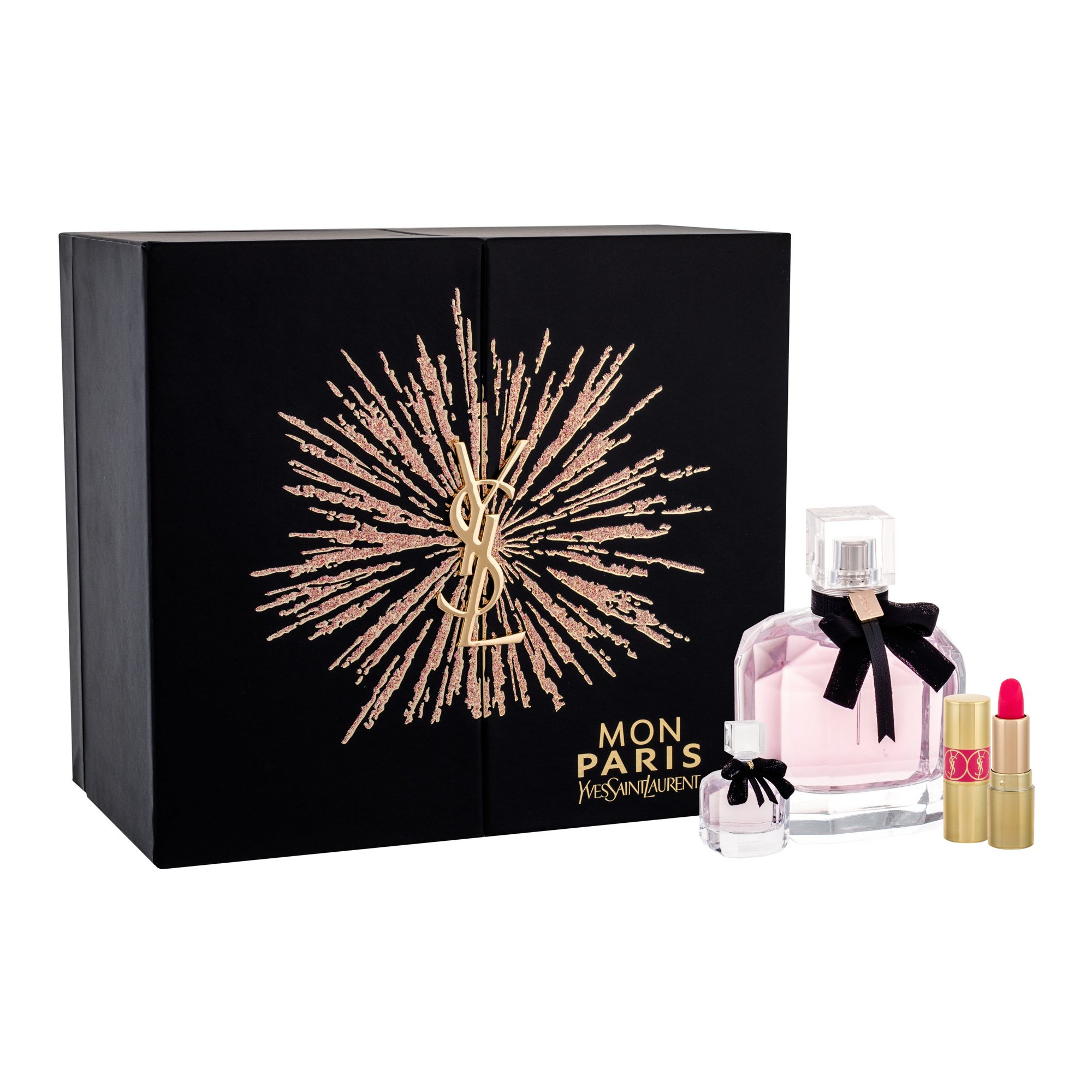 Yves Saint Laurent Mon Paris - parfémová voda 90 ml + parfémová voda 7,5 ml + rtěnka Rouge Volupte Shine N. 49 W Objem: 90 ml
