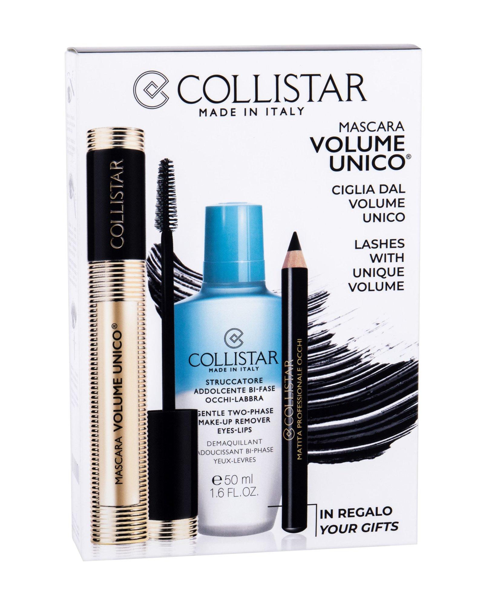 Collistar Volume Unico - (Intense Black) řasenka 13 ml + odličovací přípravek Gentle Two-Phase 50 ml + tužka na oči Professional Eye Pencil 0,8 g Black W Objem: 13 ml