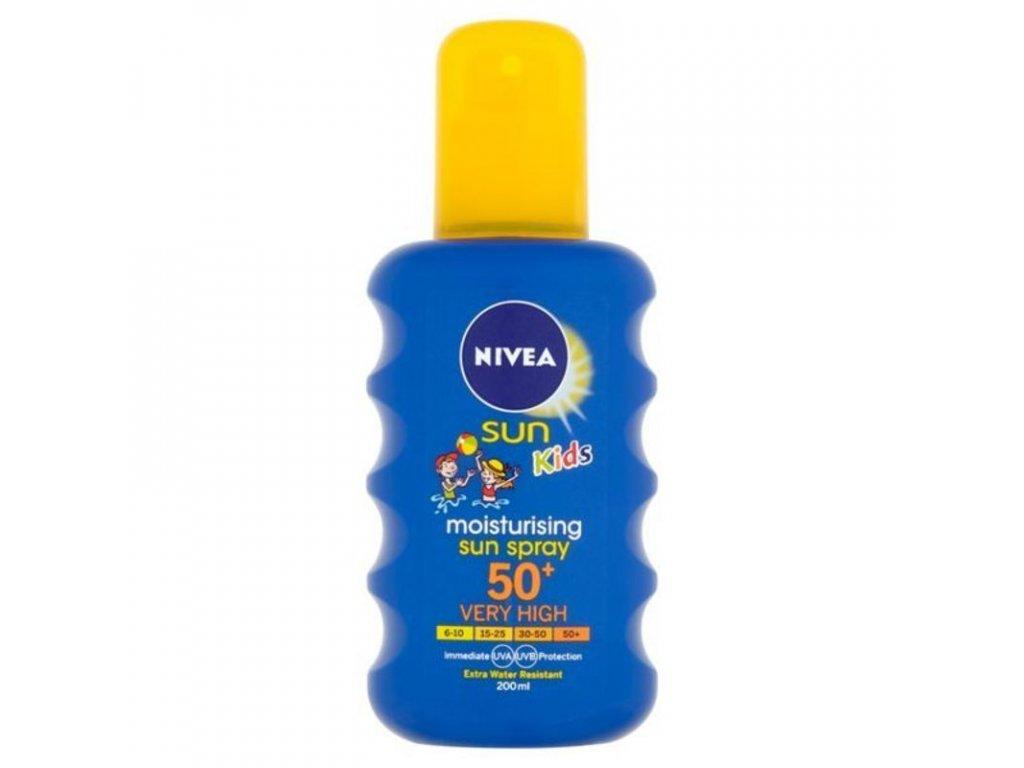 Nivea Dětský barevný sprej na opalování SPF50+ (Moisturising Sun spray) Objem: 200 ml