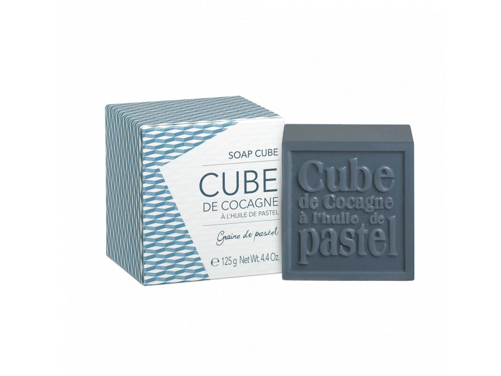 SOAP CUBE IN CARBOARD BOX BLEU DE REINE 125G, GRAINE DE PASTEL