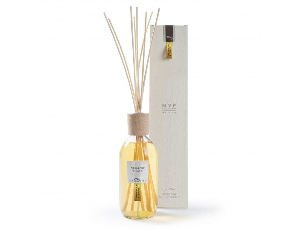 MYF - Classic aroma difuzér Sandalwood & Orange (Santalové dřevo a pomeranč), 500ml