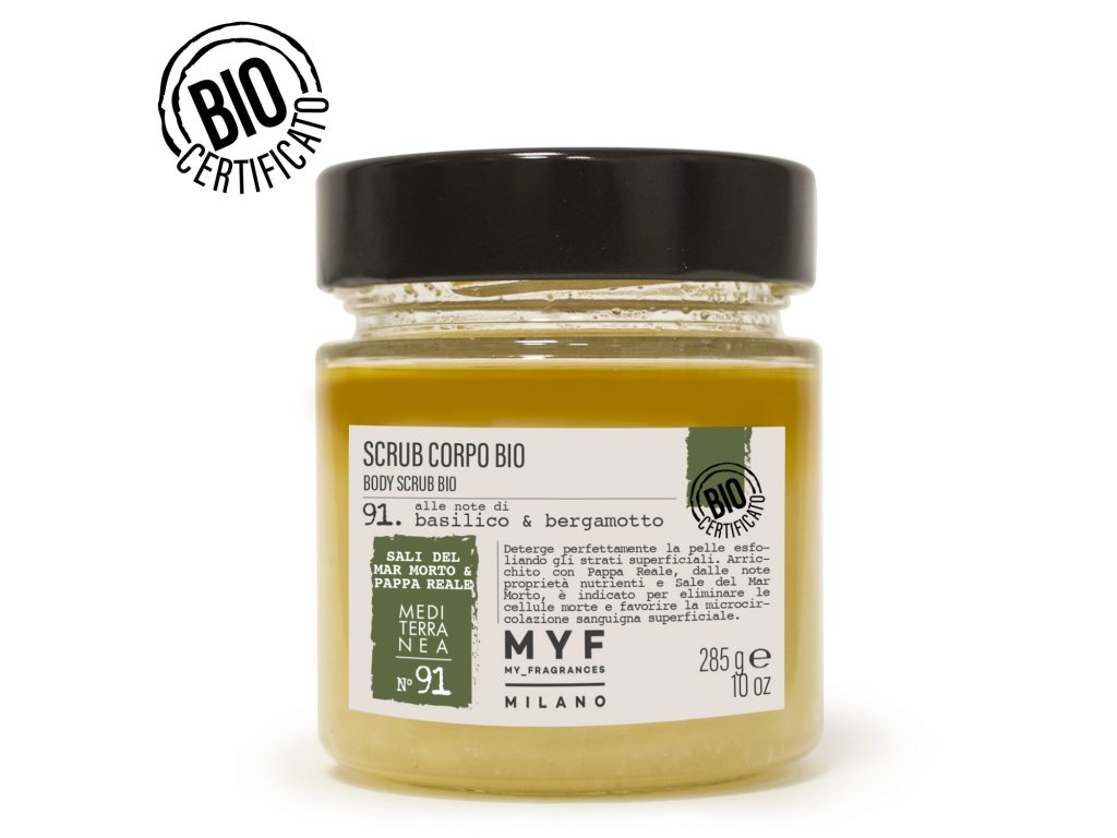 MYF - Tělový peeling 285g Bazalka & Bergamot Bio certifikát