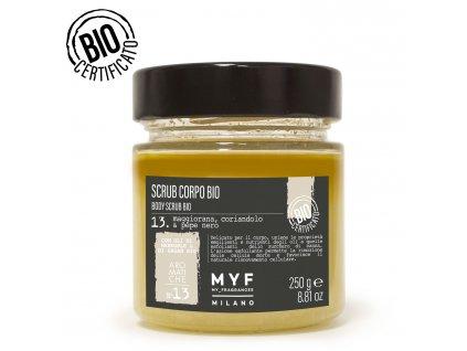 MYF - Tělový peeling 250G Majoránka, Koriandr & Černý pepř Bio certifikát