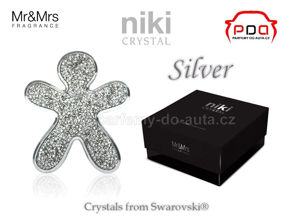 Panáček NIKI Crystal Silver - Silver Mr&Mrs Fragrance - Stříbrný se stříbrným rámečkem