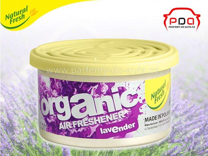Organic Pure Lavender levandule vonná plechovka do auta