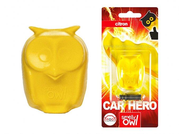 Sovička vůně do auta Smelly Owl Lemon citrón