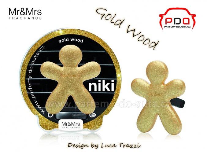 Panáček Niki Gold Wood - zlaté dřevo - vůně do auta Mr Mrs Fragrance
