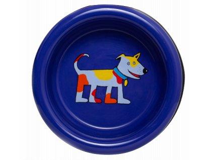 Smaltovaná miska pro psy modrá střední
