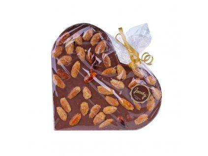 Srdce z mléčné čokolády s karamelizovanými mandlemi Janský