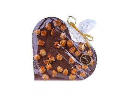 Srdce z mléčné čokolády s karamelizovanými lískovými oříšky Jánský