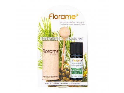Difuzér provensálský dřevěný + éterický olej Borovice 10 ml BIO FLORAME