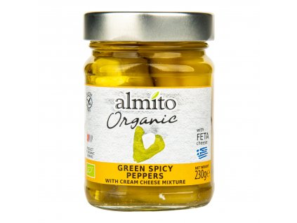 Papriky zelené pikantní plněné sýrem 230 g BIO ALMITO