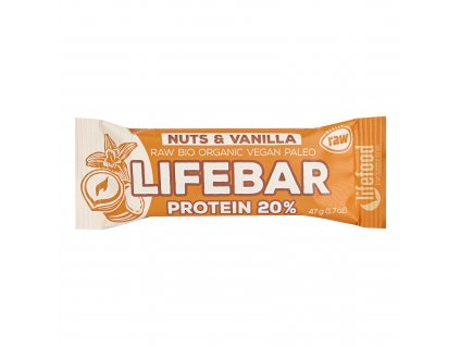 Tyčinka Lifebar protein oříšková s vanilkou 47 g BIO LIFEFOOD