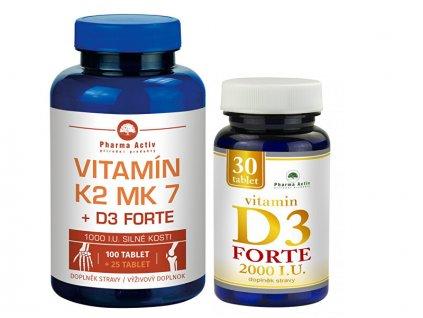Vitamín K2 MK7 + D3 FORTE 125 tbl. + Vitamín D3Forte 30 tbl.