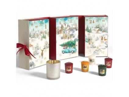 Adventní kalendář kniha 12 ks votivních svíček, 12 ks čajových svíček + 1 svícen