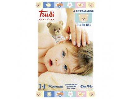 Dětské pleny Trudi Dry Fit s vrstvou Perfo-Soft velikost XL 15-30 kg 14 ks