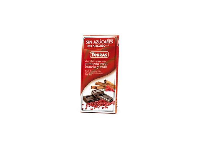 Torras čokolada s růžovým pepřem skořicí a chilli 75g