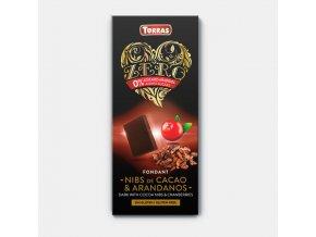 Torras Zero čokoláda brusinka 125g
