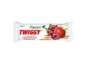 Tyčinka Twiggy müsli s brusinkami a jahodami 20g BIO EKOFRUKT
