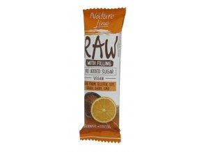 Raw tyčinka pomeranč,kakao 45g Nature Line