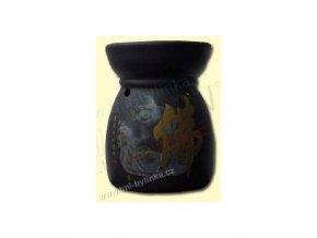 """Aromalampa """"Hotei (Smějící se Buddha) černá s hieroglyfem"""" R084"""