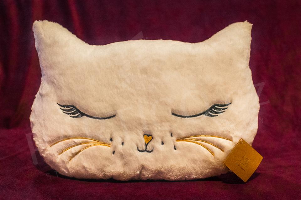Plyšový polštář bílá Kočka