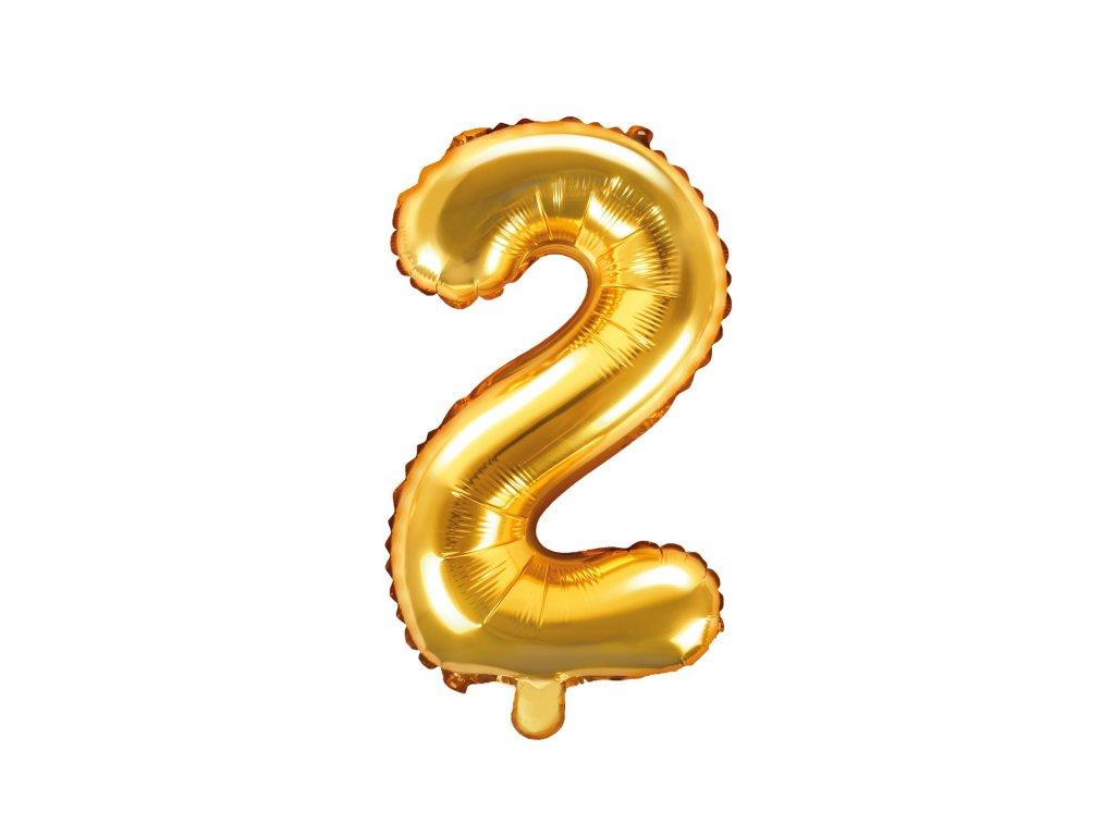 balonek cislo 2 zlaty 35cm FB10M 2 019 01