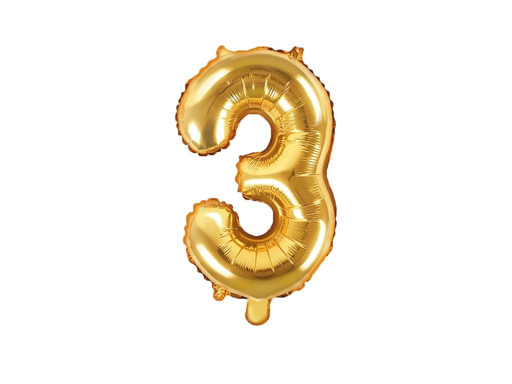 balonek cislo 3 zlaty 35cm FB10M 3 019 01