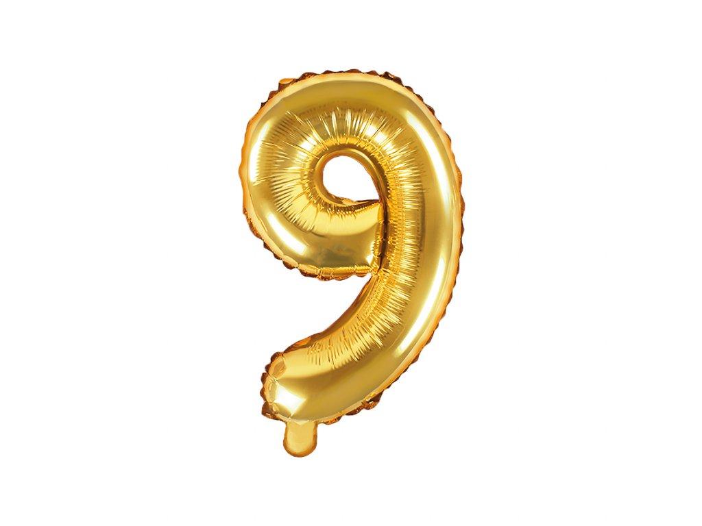 balonek cislo 9 zlaty 35cm FB10M 9 019 01