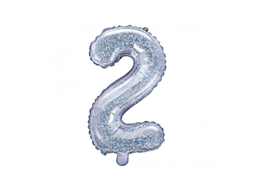 balonek cislo 2 holograficky 35cm FB10H 2 018 01