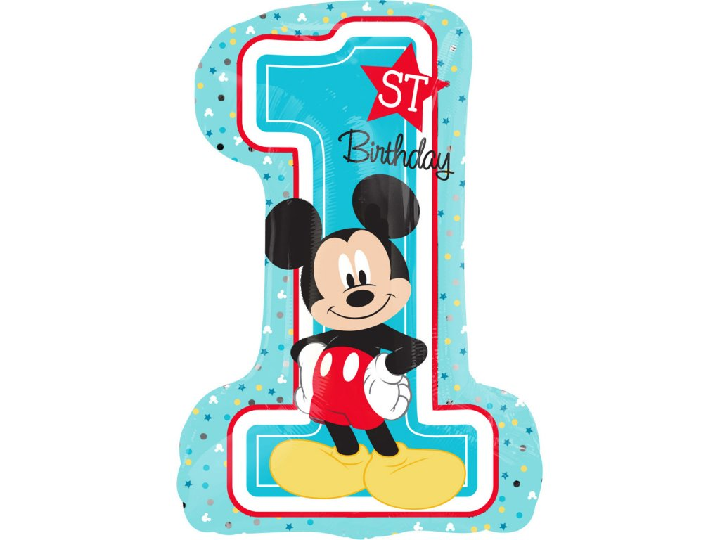 foliovy balonek Mickey Mouse 1 narozneniny 48x71cm 3434301