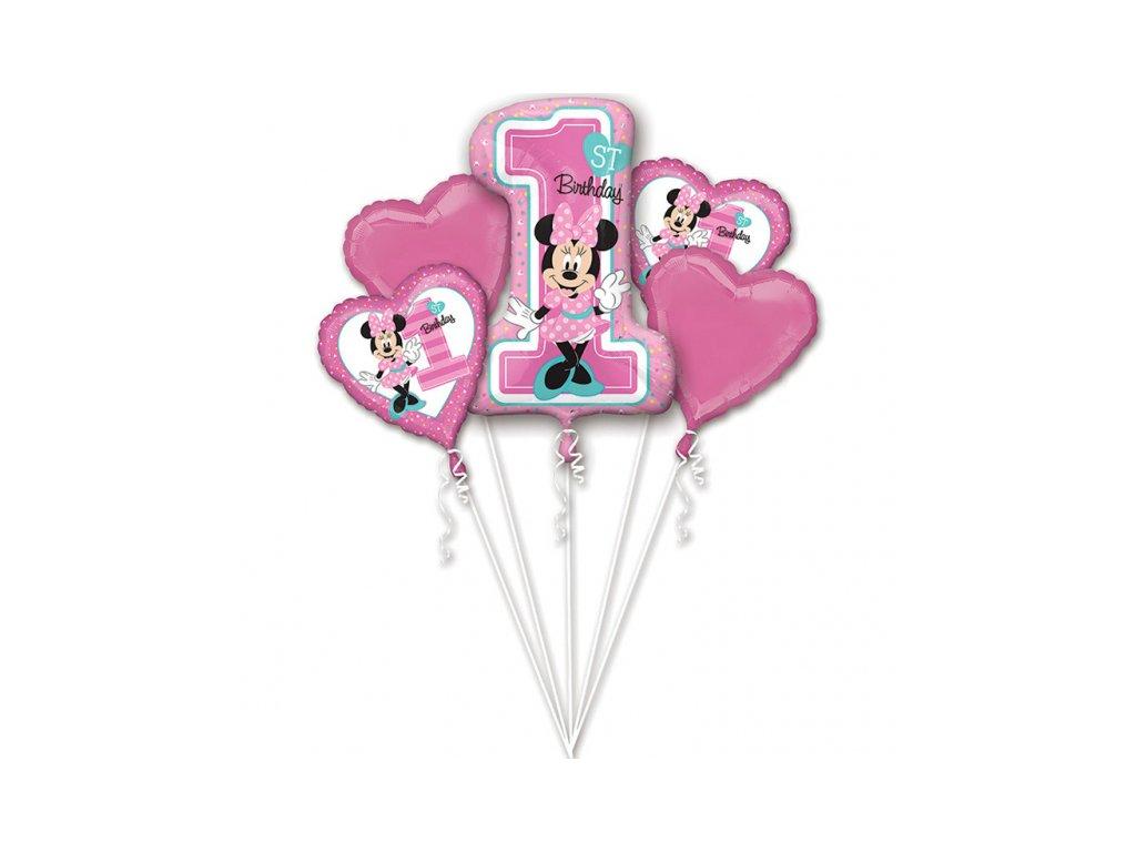 balonkovy buket Minnie 1narozeniny 5ks 3437901