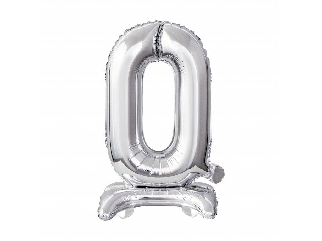 balonek foliovy cislo stojici 0 38cm stribrny metal BC ATS0 1
