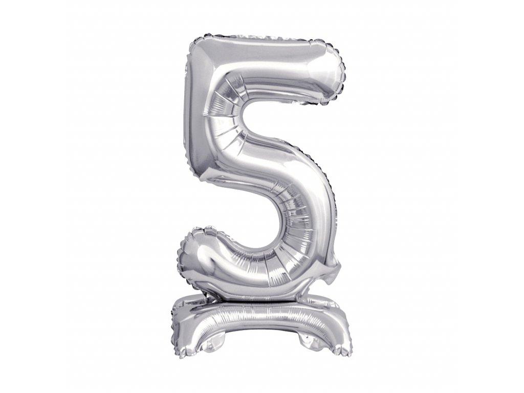 balonek foliovy cislo stojici 5 38cm stribrny metal BC ATS5 1