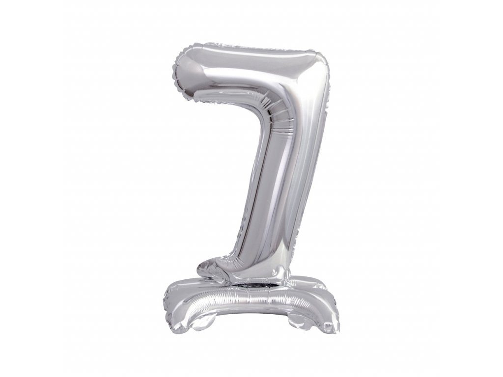balonek foliovy cislo stojici 7 38cm stribrny metal BC ATS7 1