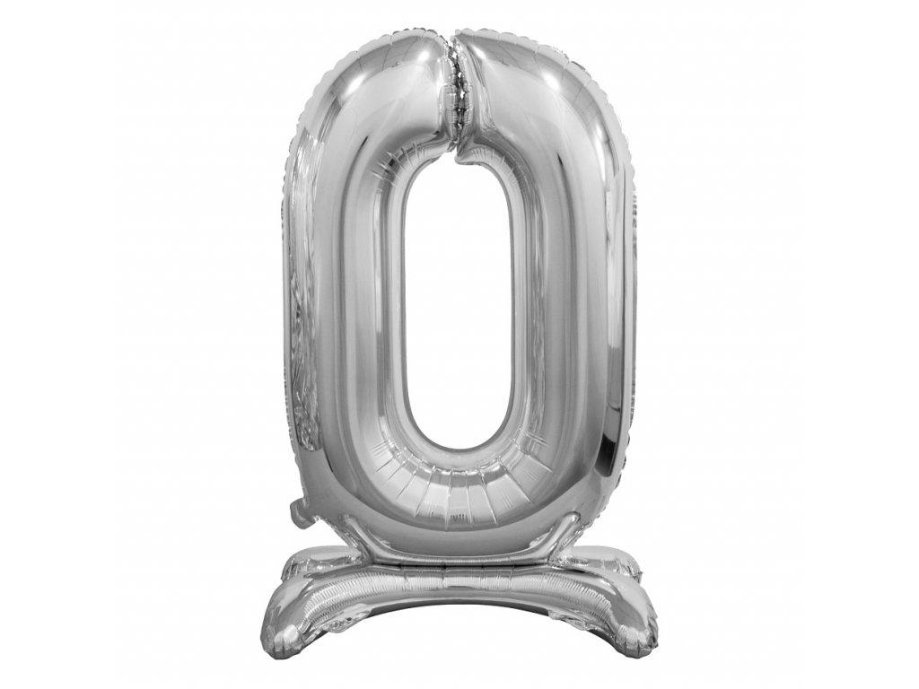 balonek foliovy cislo stojici 0 74cm stribrny metal BC ASS0 1