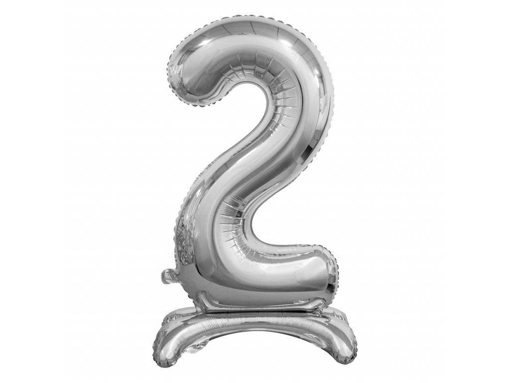balonek foliovy cislo stojici 2 74cm stribrny metal BC ASS2 1