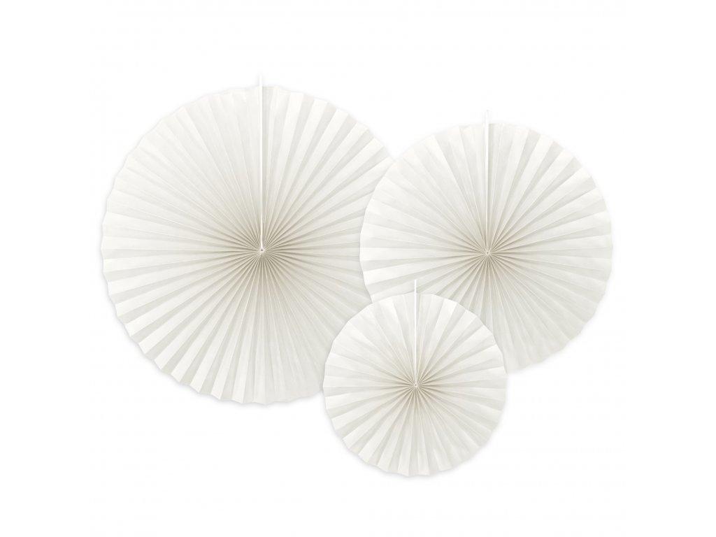 Rozety dekorativní bílý odstín mix velikostí, 3 ks