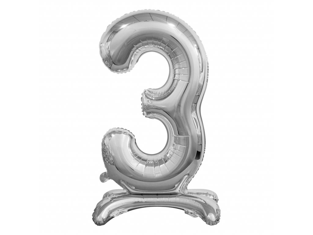 balonek foliovy cislo stojici 3 74cm stribrny metal BC ASS3 1