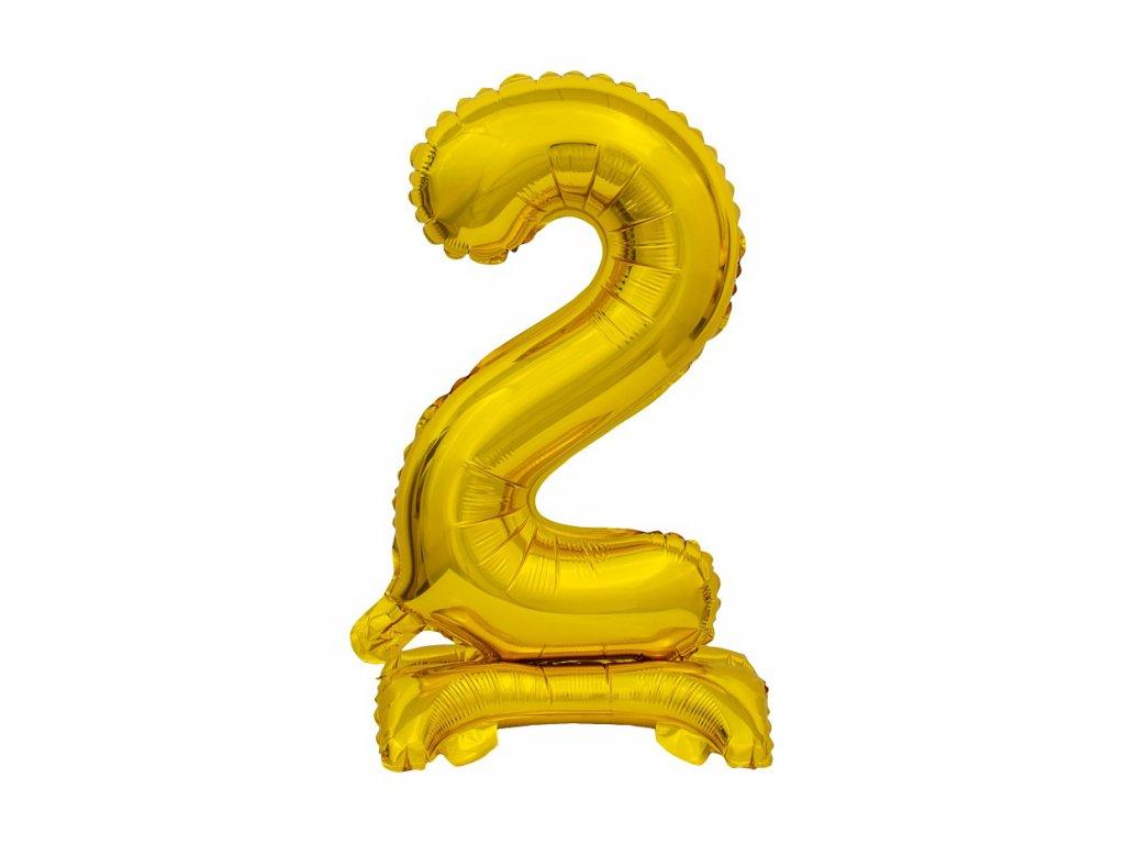 balonek foliovy cislo stojici 2 38cm zlaty metal BC ATZ2 1