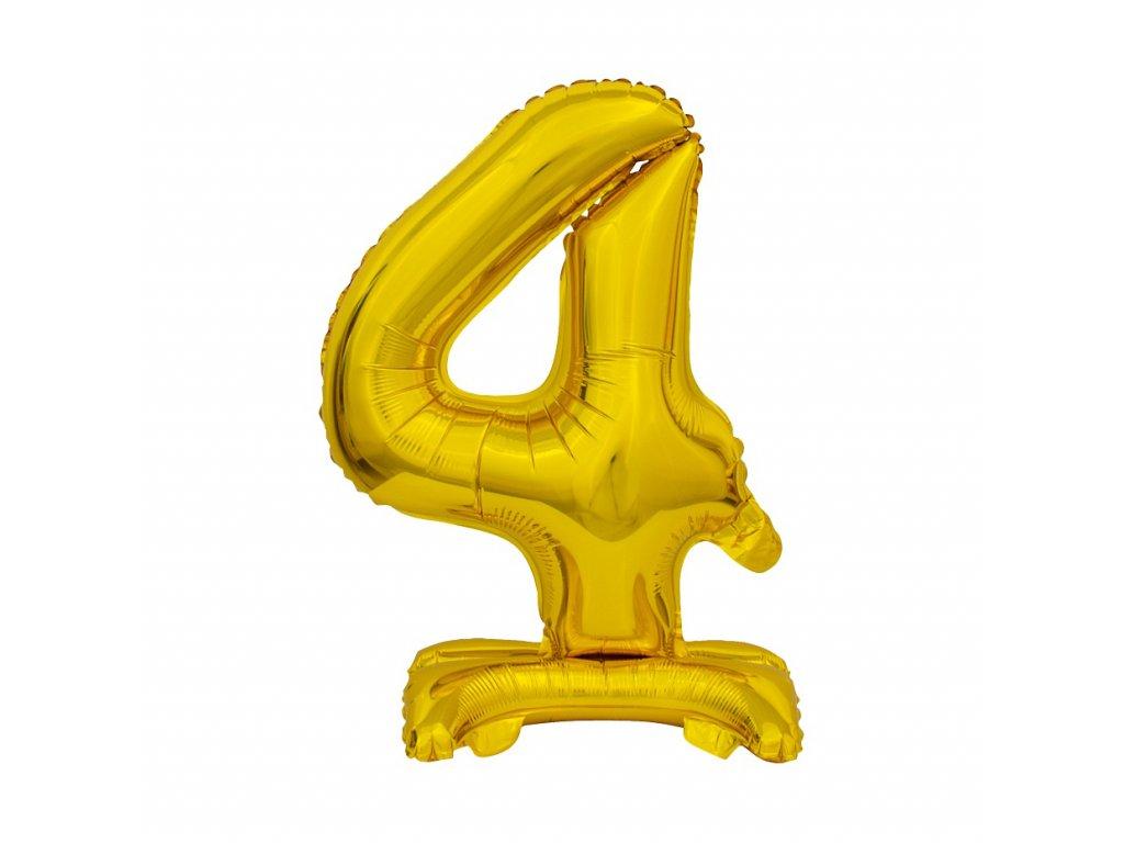 balonek foliovy cislo stojici 4 38cm zlaty metal BC ATZ4 1