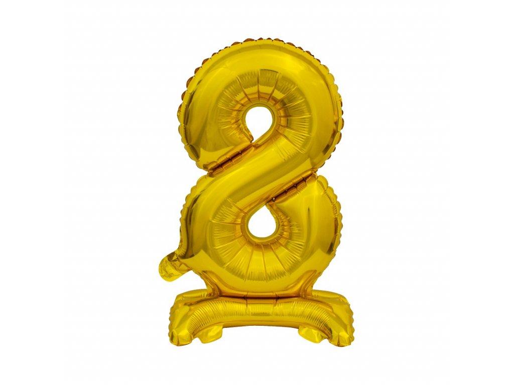 balonek foliovy cislo stojici 8 38cm zlaty metal BC ATZ8 1