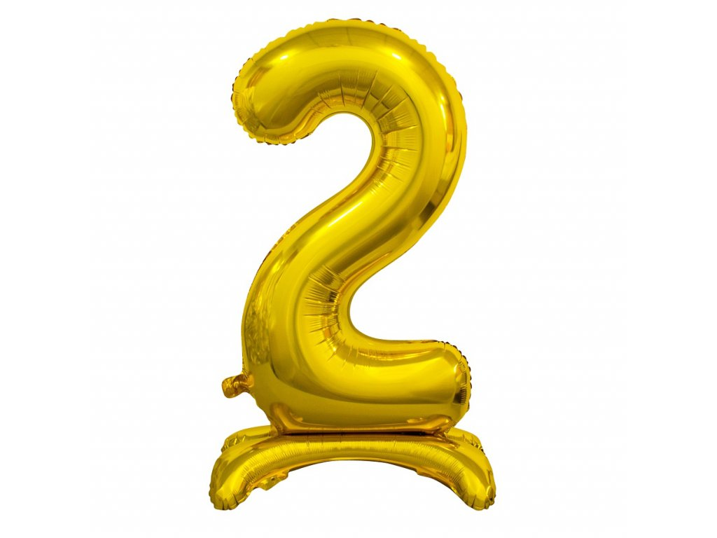 balonek foliovy cislo stojici 2 74cm zlaty metal BC ASZ2 1